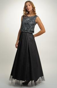 Luxusní dlouhé večerní šaty na slavnostní společenské příležitosti, vel. 38