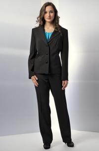 Mladistvý kalhotový kostýmek, elegantní sako s ozdobou