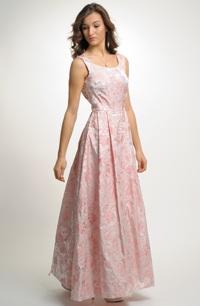 Šaty svatební s štíhlým pasem a širokou sukní s tylovou spodničkou.