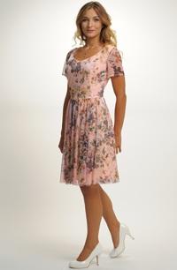 Společenské šaty elastického tylu s potiskem květů