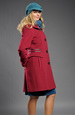 Mladistvý dámský kabát s koženým proužkem
