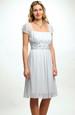 Řasené krátké šaty s vysokým ozdobným pasem