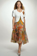 Společenské letní šaty s velkým vzorem a bolerko