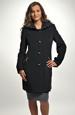 Dámský černý kabát se zipy u kapes