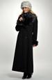 Dámský dlouhý černý kabát s oddělávací kožešinou
