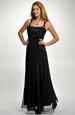 Dlouhé šifónové plesové šaty černé, 36 - 40