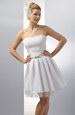 Korzetové krátké bílé šaty se skládanou sukýnkou