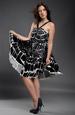 Letní šaty s velkým černobílým vzorem