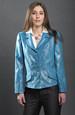 Tyrkysové dámské sako v módním materiálu