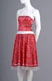 Korzetové minišaty s kolovou sukní v drobném vzorku