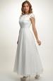 Bílé svatební šaty s hrubou krajkou