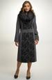Dámský dlouhý kabát s kožešinovým límcem