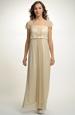 Zlatavé antické svatební šaty pro plnoštíhlé s řasením