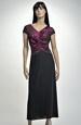 Černé večerní šaty s lila živůtkem