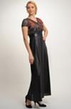 Elegantní dámské dlouhé večerní šaty se vsadkou v pase - vel. 38