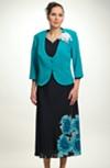 Letní komplet - šaty s kabátkem pro plnoštíhlé