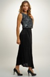 Společenský dámský komplet s delší plisé sukní a, topem