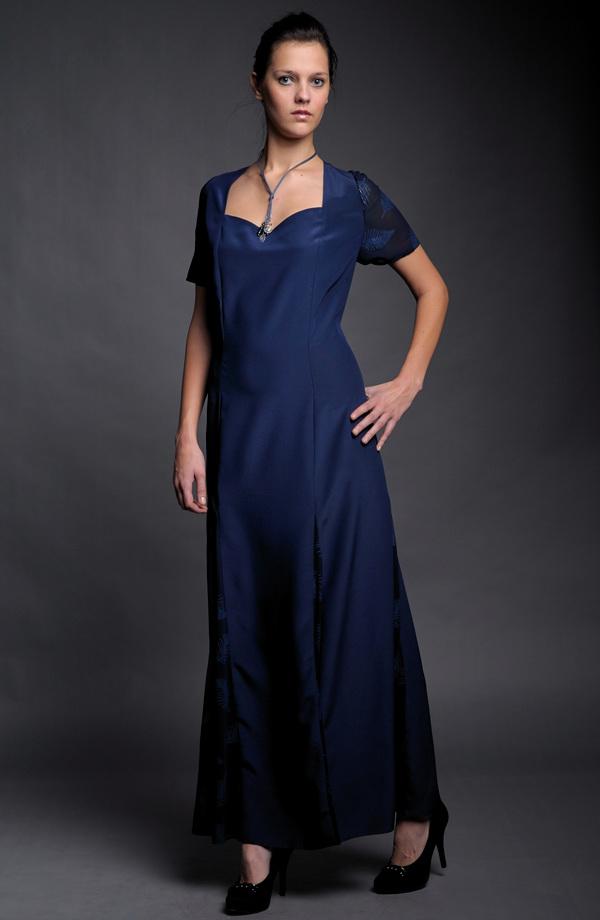 Dámské dlouhé společenské šaty v modré - levné 7dc6efb88e