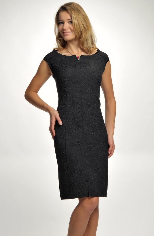 70e2a985f85d Elegantní dámské malé černé koktejlové šaty na ples z luxusní žakárové  elastické tkaniny