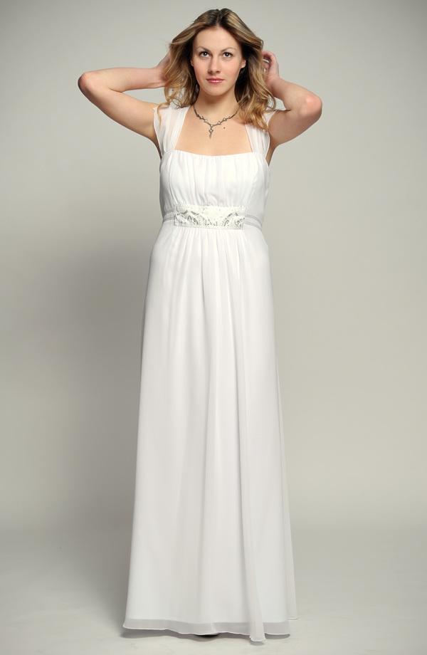 2d4a923abfa Bílé antické svatební šaty pro plnoštíhlé s řasením a stříbrnou portou s  korunkami