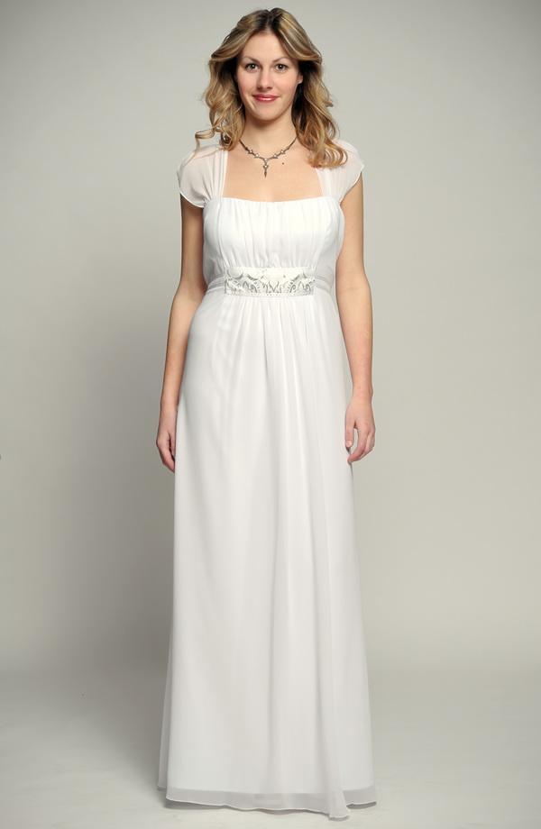 0b589ad31ee3 Bílé antické svatební šaty pro plnoštíhlé s řasením a stříbrnou portou s  korunkami