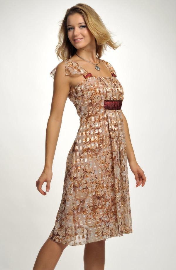 7e20dac889fd 40 Společenské šaty v délce ke kolenům s potiskem a s řasením