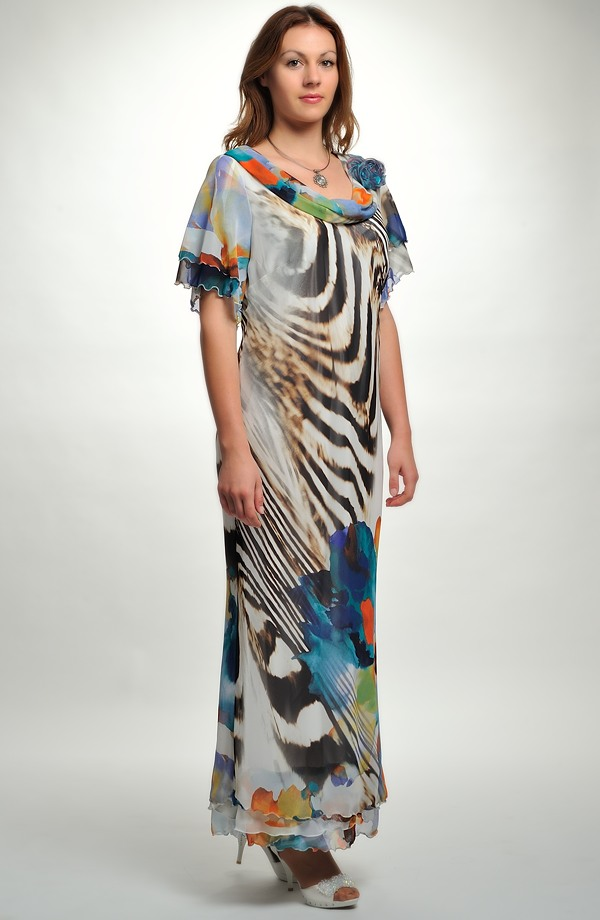 Dlouhé šifónové společenské šaty pro vel. 0ef14ab7049