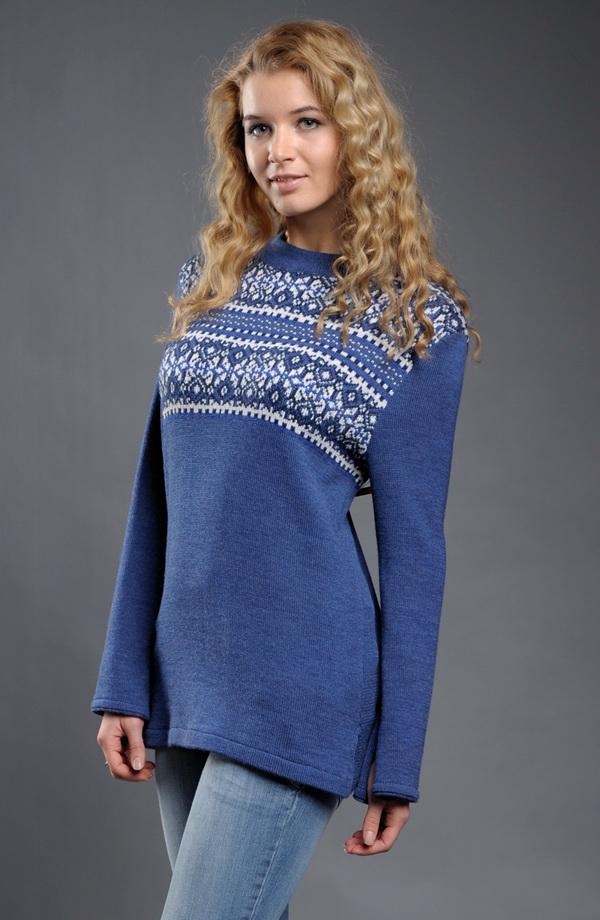 01f89ebdf9e ... Dámský svetr s norským vzorem z vlny Merino ...