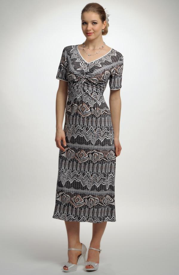 ... Elegantní černobílé elastické šaty s potiskem ... c5ce00e0f9