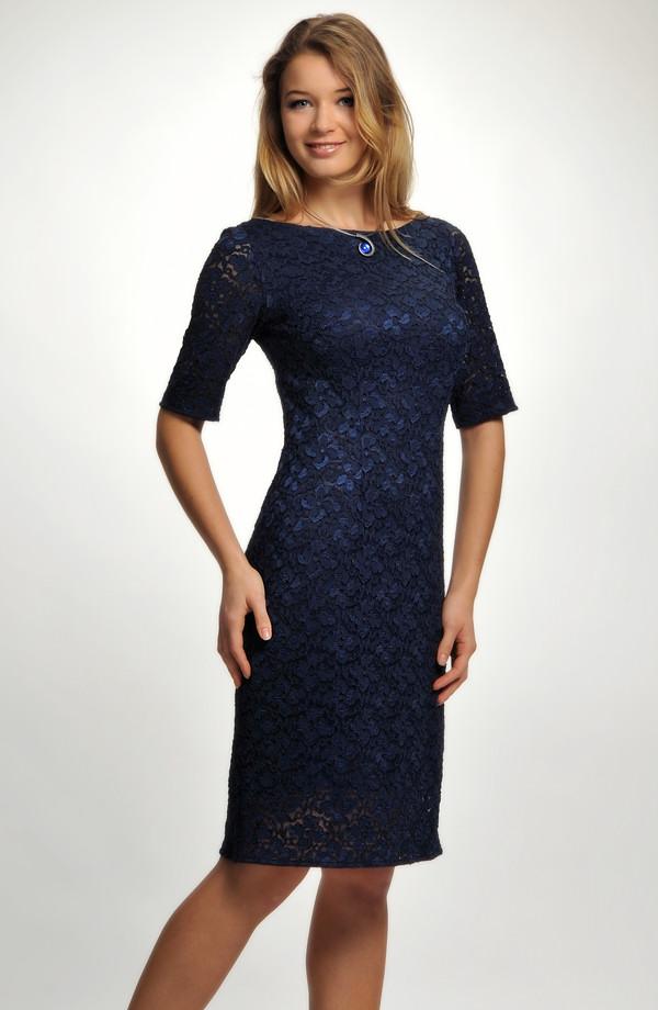 Koktejlové společenské šaty z elastické modré krajky ... f41678d130