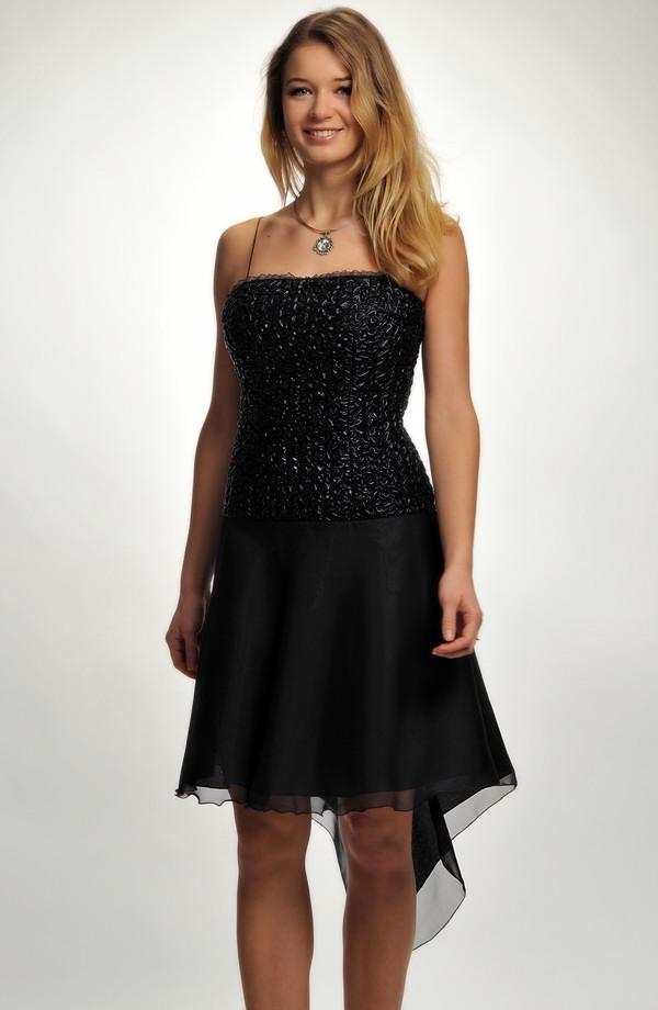 Krátké černé společenské šaty na ples s asymetrickou šifónovou kolovou  sukní be0ab18f06