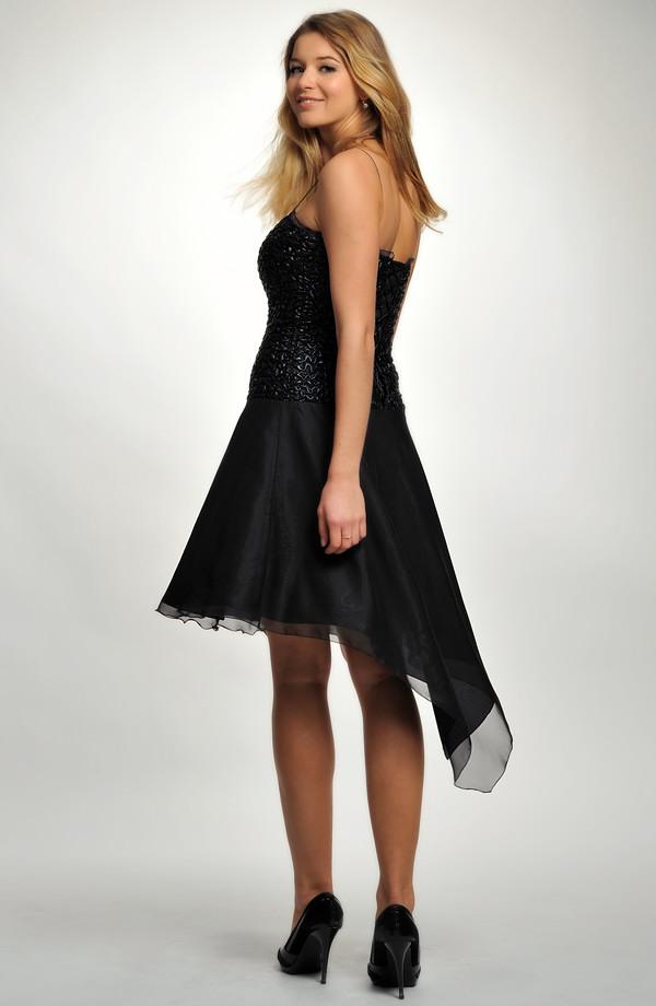 0c59f5baf35 ... 40 Krátké černé společenské šaty na ples s asymetrickou šifónovou  kolovou sukní