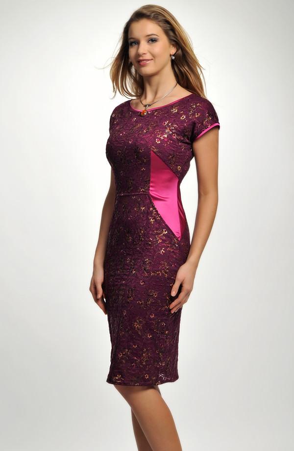 293e4752282 Krátké dámské společenské šaty z krajky jsou kombinované s elastickým  saténem ...