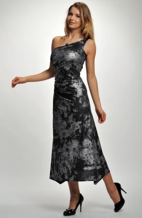 Elegantní dámské společenské šaty se zajímavým potiskem a34f80b0514