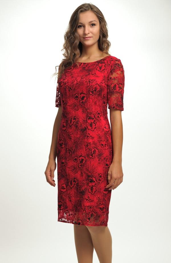 4a6793f98c9 Elegantní pouzdrové společenské šaty s efektní krajkou vel.