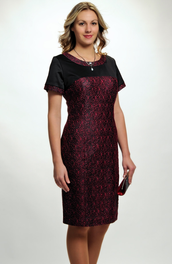 Elegantní dámské poudzdrové koktejlové šaty do sedla z elastické krajky 6ce0fc1089