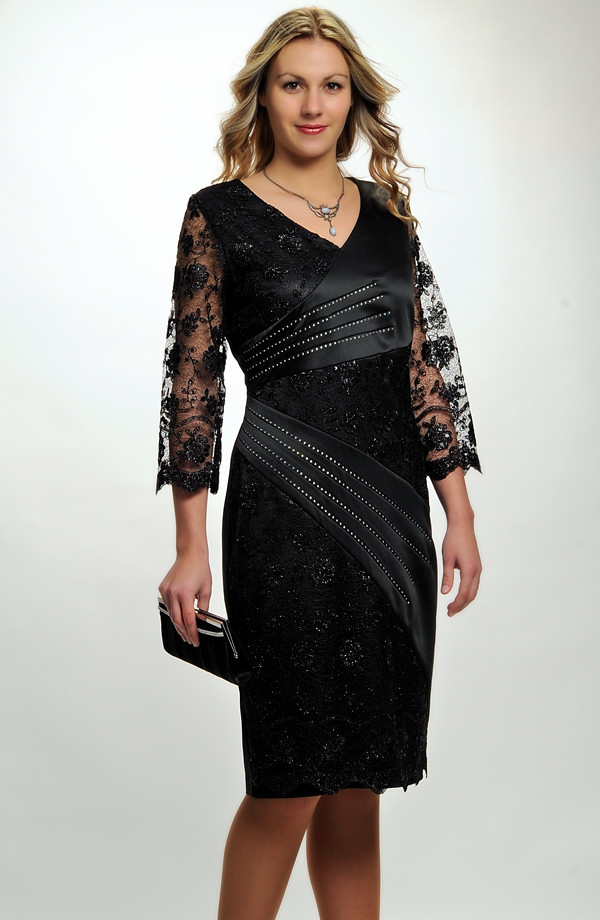 Dámské večerní a koktejlové šaty s černou luxusní krajkou a saténem vhodné  i pro plnoštíhlé a ... 5e8bf703ce