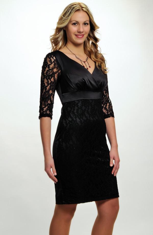 Černé krajkové společenské minišaty s aplikací na sukni a rukávech. vel.  36 69a78055c8