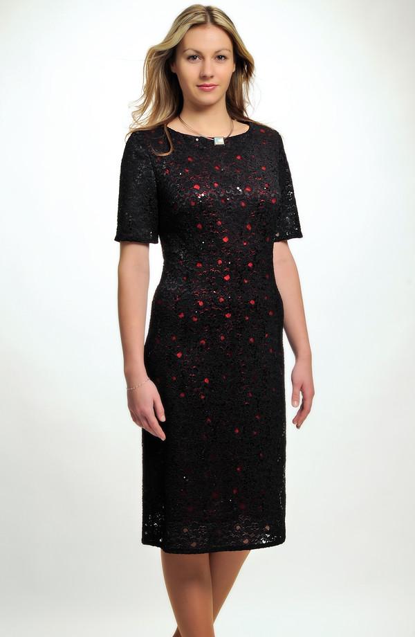 7c83b570c48b Malé černé krajkové koktejlové šaty z elastické krajky pro plnoštíhlé i pro  větší velikosti - L ...