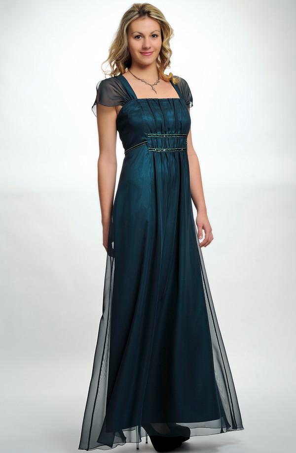 94263299fa6 Dlouhé elegantní večerní šaty s lesklou zelenou portou i pro plnoštíhlé  silnější dámy