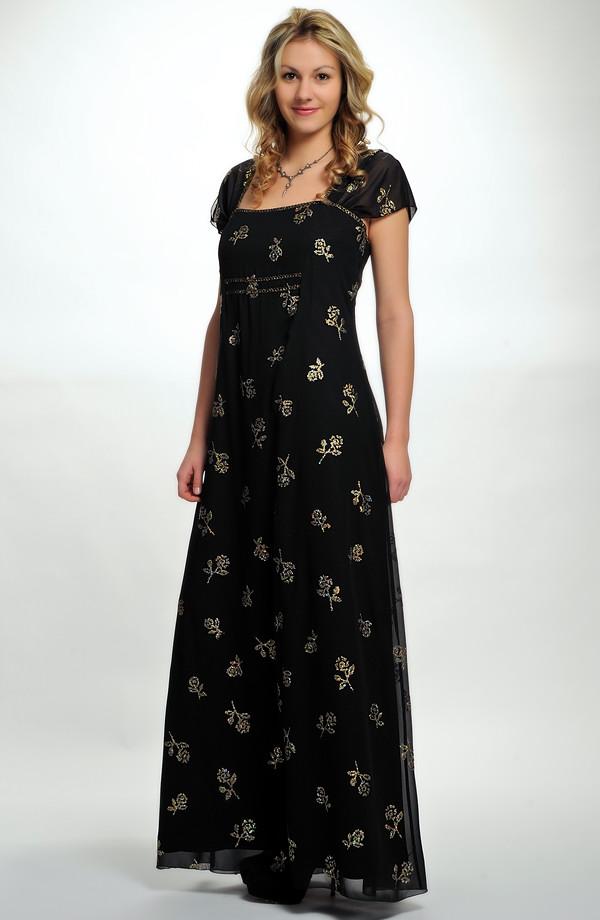 7af51477dce 46 Dlouhé dámské večerní šifonové šaty se vzorem zlatých kytiček