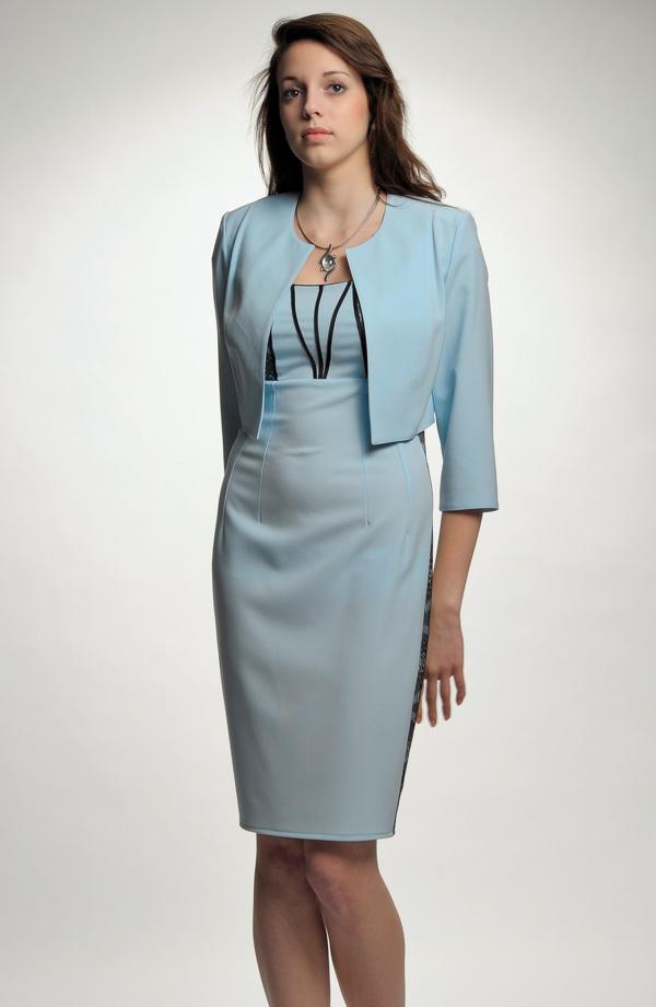 57fc195038d8 Pouzdrové společenské krajkové šaty s bolerkem ...