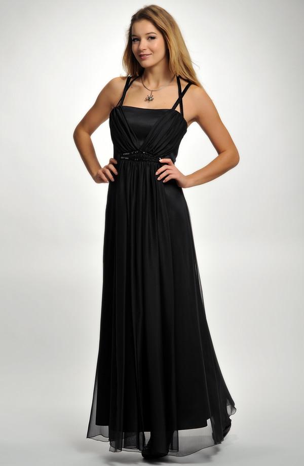 4674e41a5cdf Dlouhé černé plesové šaty na ozdobná ramínka
