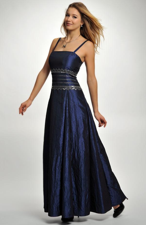 Dlouhé raminkové společenské šaty se stříbrnou krajkovou portou. Velikost  38 a3c22508eb