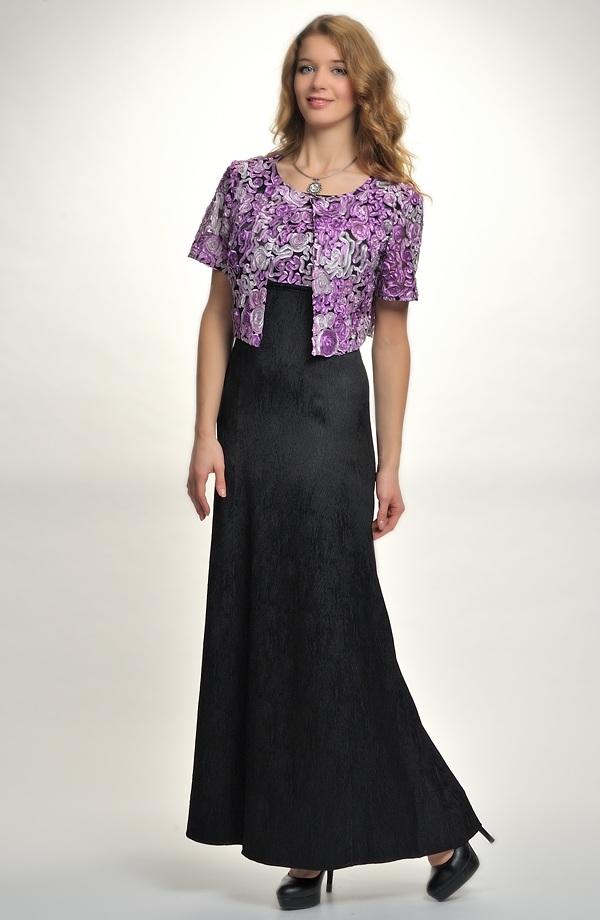 a84ed6629bd Dlouhé plesové šaty do sedla s biolerkem s našitou ozdobnou stuhou tří barev