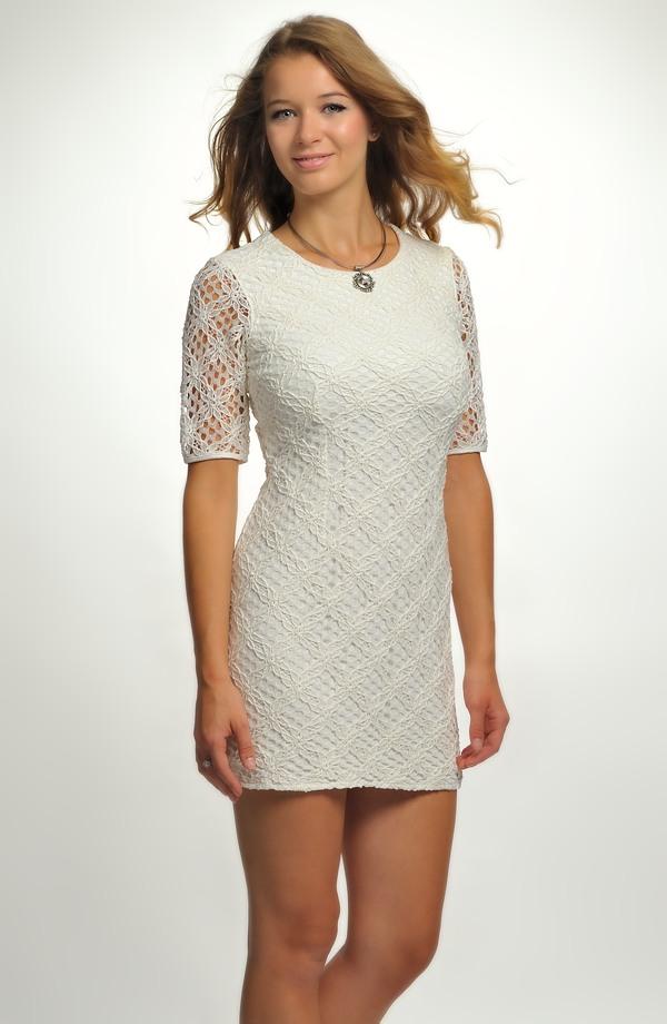 48f0640365d3 Krátké bílé krajkové šaty s rukávky Krátké bílé krajkové šaty s rukávky ...
