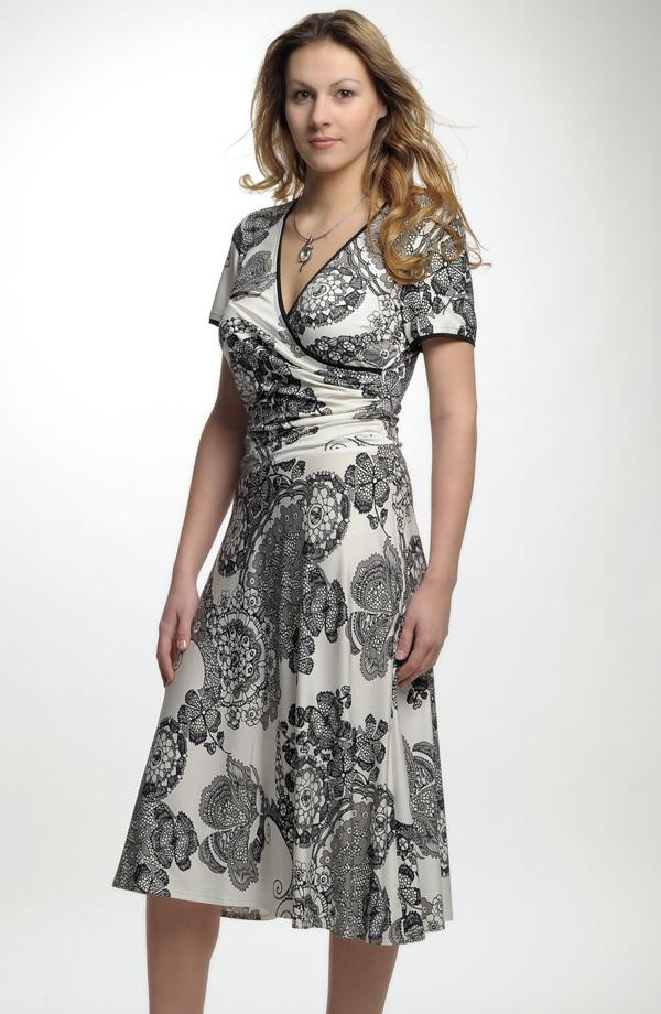 Elegantní černobílé elastické šaty s potiskem ... 6c4eda3a1e