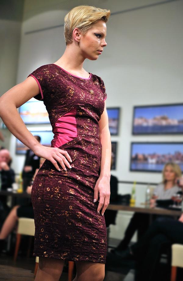 469f9ff9605 ... Krátké dámské společenské šaty z krajky jsou kombinované s elastickým  saténem