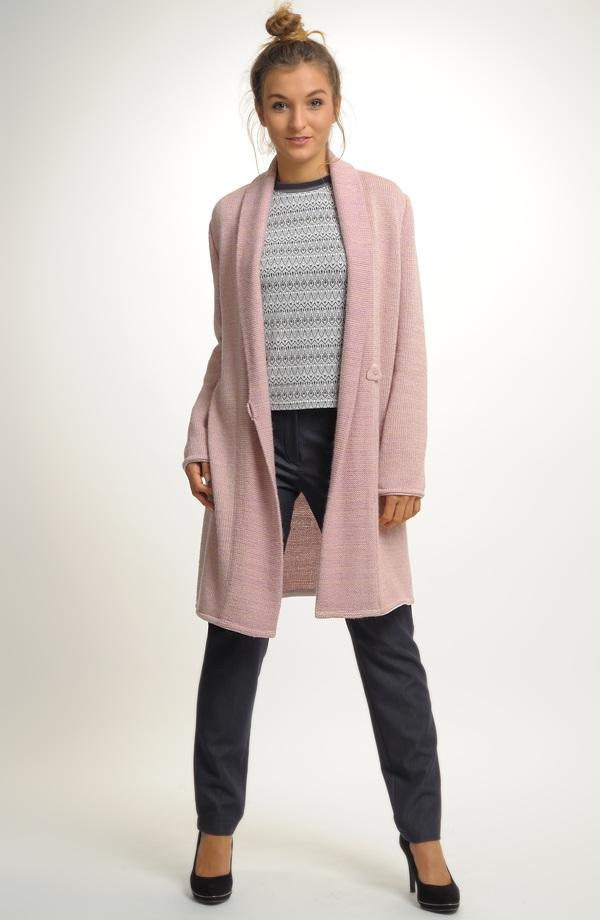 Pletený kabátek s módním šálovým límcem ... 79da5fee14