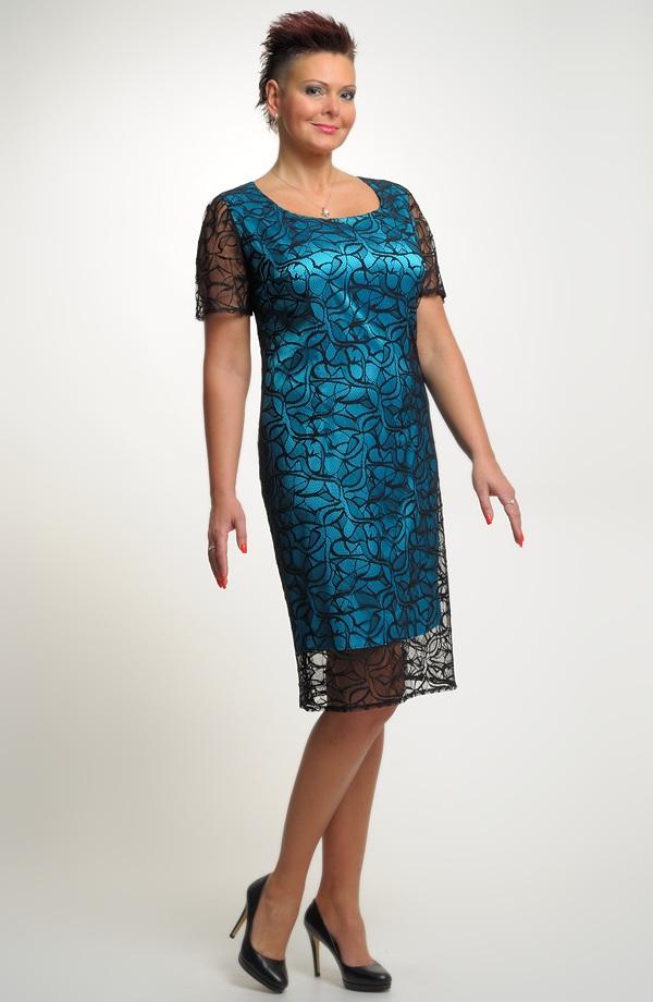 Elegantní dámské pouzdrové koktejlové šaty z krajky vel. 46 c93df7ddc9